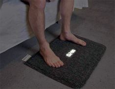 Carpet Alarm Clock -- forces you to get up and stand on it to turn it off. Carpet Alarm Clock -- forces you to get up and stand on it to turn it off. Kind of ugly. but it would help me wake up.