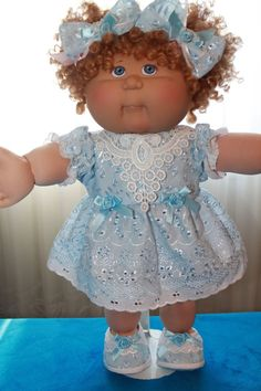 """Cabbage Patch Doll Cloths - Blue Eyelet dress, Panties, Shoes, Bows - fits 16""""…"""