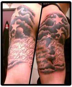 Quotes Cloud Tattoo Design For Men On Sleeve, clouds tattoos, cloud tattoo sleeve Star Tattoos For Men, Trendy Tattoos, Small Tattoos, Girl Tattoos, Tattoos For Guys, Tattoos For Women, Tatoos, Tattoo Guys, Daughter Tattoos