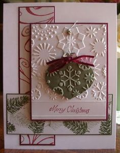 Ornament Christmas card uses DSP, embossing folder, and ornament framelits. Stampin' Up! red and green card.