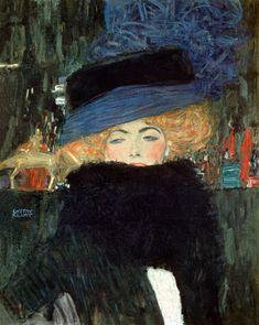 Gustav Klimt-Donna con cappello e boa