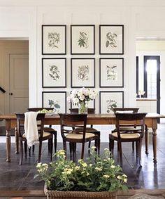 love these framed botanical prints. Dining room