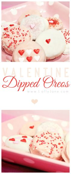 Pretty Valentine dipped Oreo's! Great neighbor gift or treat for your love! {lollyjane.com}