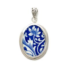 Broken China Jewelry Spode Blue Italian Floral Scroll Sterling Oval Pendant