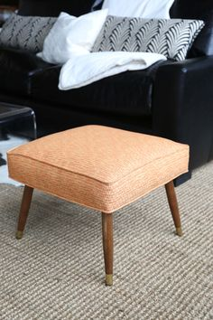 Mid-Century Modern Orange Footstool Newly Uphostered (300.00 USD) by ChristaPirlFurniture