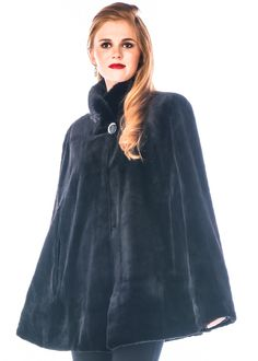 Black Sheared Mink Fur Opera Poncho/Cape Size OS (one size) Winter Poncho, Dinner Suit, Poncho Coat, Fur Cape, Shearing, Mink Fur, Real Women, Timeless Fashion, Ball Gowns