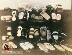 1890's. Japanese Footwear.  A selection of Japanese footwear ranging from geta to zori (bottom) and waraji bottom right). As the above photo clearly shows, there is a large number of styles, depending on the wearer and the usage. Japanese footwear allows free circulation of air around the feet, making it perfect for the hot humid summers of Japan, although a bit cold in winter… The high teeth of the geta kept the wearer's feet clean during a rainy day on Japan's notoriously muddy roads.