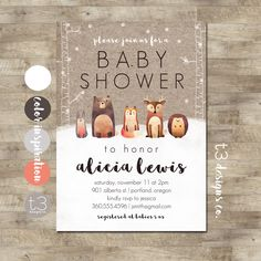 Winter Woodland Baby Shower Invitation, Forest Animals, Winter Baby Shower, Snow Baby Shower, Gender Neutral Animal Baby Shower Invite by T3DesignsCo on Etsy https://www.etsy.com/listing/484715533/winter-woodland-baby-shower-invitation