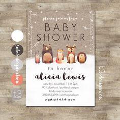Winter Woodland Baby Shower Invitation, Forest Animals, Winter Baby Shower, Snow Baby Shower, Gender Neutral Animal Baby Shower Invite by T3DesignsCo on Etsy https://www.etsy.com/listing/484715533/winter-woodland-baby-shower-invitation