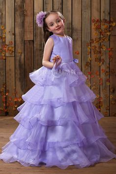Adorable cinq couches robe cortège enfant satin ruches [#ROBE209284] - robedumariage.com