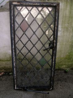 """Vtg Antique Architectural 39"""" Stained GLASS WINDOW Diamond Pane Lead OLD RARE"""
