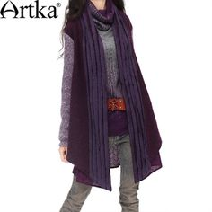#Swanmarks  Artka Purple Series Strip Joint Wool Knitwear Coat