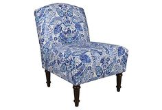 Clark Slipper Chair, Blue Damask on OneKingsLane.com