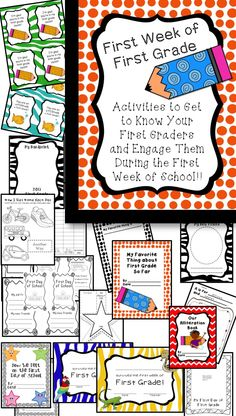 Great activities for the first week of FIRST GRADE!!! :):) Super fun!