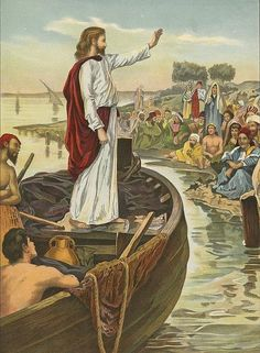 Jesus in boat preaching Antique Vintage Illustration Free Christian Paintings, Christian Artwork, Pictures Of Jesus Christ, Bible Pictures, Tb Joshua, Image Jesus, Spiritual Paintings, Bible Illustrations, Jesus Painting