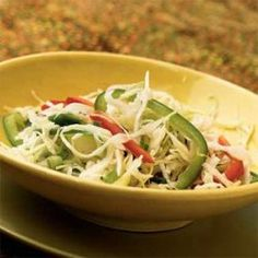 Get full Three-Pepper Slaw Recipe ingredients, how-to directions, calories and nutrition review. Rate this Three-Pepper Slaw recipe with 1/2 cup thinly sliced red bell pepper strips, 1/2 cup thinly sliced green bell pepper strips, 1/4 cup finely chopped seeded jalapeno pepper, 1/3 cup chopped green onions, 1 (10-oz) package angel hair coleslaw (about 6 cups), 1/4 cup white wine vinegar, 2 tbsp fresh lime juice, 1 tsp sugar, 2 tsp canola oil, 1/2 tsp salt, 1/4 tsp white pepper