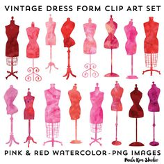 Vintage Dress Form Clip Art, Fashion Party Theme Invitation Clipart, Pink Watercolor Dressform Clipart Instant Download