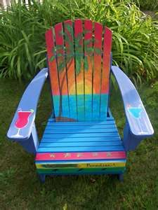 It's 5 o'clock somewhere.......Margaritaville Jimmy Buffett Style Hand Painted Adirondack Chair
