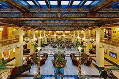 DAVENPORT HOTEL's Spanish Renaissance Lobby. Hall of the Doges, Peacock Bar, & Marie Antoinette Ballroom are more gems in 1914 Spokane edifice.