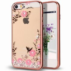 Find More Phone Bags & Cases Information about For iPhone SE Case Pink Butterfly Floral Flower Bling Crystal Rhinestone Diamond Clear Plating Silicone Cover for iPhone SE 5S 5,High Quality cover small,China cover for macbook keyboard Suppliers, Cheap cover up beach dress from Neuss Store on Aliexpress.com