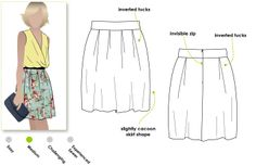 Tucked woven skirt with slight cocoon shape