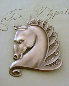 Art Deco Horse Brooch Pin  Vintage Brass  by chloesvintagejewelry, $24.50