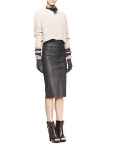 Long-Sleeve Ribbed Raglan Sweater, Sleeveless Ribbed-Knit Tee, High-Waist Leather Pencil Skirt & Riverstone Beaded String-Cluster Choker Necklace 2133$  by Brunello Cucinelli at Neiman Marcus.