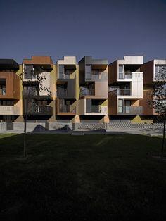 Gallery of Tetris Apartments / OFIS arhitekti - 13 Tetris, Apartment Color Schemes, Arch Building, Street House, Cool Apartments, Facade Architecture, Facade House, Townhouse, House Design