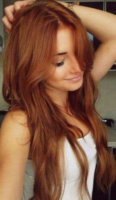 Summertime copper hair with blonde highlights