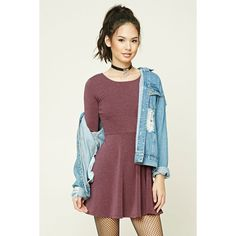 893c19fd16 Forever21 Heathered Knit Skater Dress (17 AUD) ❤ liked on Polyvore  featuring dresses
