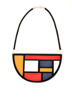Mondrian colourblock bib necklace by nylonsky