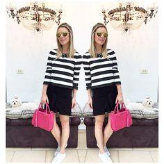 Boa noitegirls! O look desse sábado é confortável & cheio de estilo ... Com uma combinação que eu A-MO: PB & PINK. Fernanda Gregorin - modelo luxo Mini texturizada / saia: NV / blusa: ZARA...