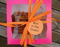 Bun in the oven shower favours! I think we may switch out the sticky bun for something else though...