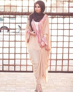 blush pastel cardigan abaya style- Eid hijab ready to wear http://www.justtrendygirls.com/eid-hijab-ready-to-wear/