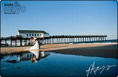 Outer Banks Weddings, OBX Weddings, Beach Wedding, OBX Wedding Photography, Outer Banks Wedding, Couple on beach by the Kitty Hawk Pier www.brookemayo.com