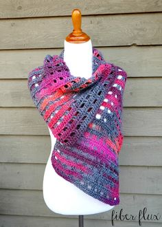 Heathered Eyelets Wrap, free crochet pattern from Fiber Flux