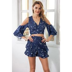 325a0a195e Ladies Ruffle Star Print 2 Piece Playsuit Two Piece Rompers