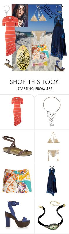 """Spring Break at the Beach"" by denibrad ❤ liked on Polyvore featuring Topshop, Tory Burch, Birkenstock, Anna Kosturova, Trina Turk, Roland Mouret, ALEXA WAGNER, Paul & Pitü Naturally, TIKI and Surfer Girl"