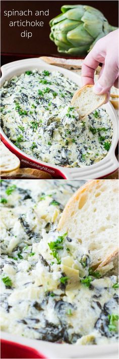 This hot, cheesy, and bubbly Spinach and Artichoke Dip is perfect for any party or gathering. And, it's ready to go in about a half hour with just 6 ingredients!