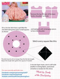 Cloud Factory party dress for girls Frock Patterns, Baby Dress Patterns, Clothing Patterns, Sewing Patterns, Little Girl Pageant Dresses, Gowns For Girls, Girls Party Dress, Bodice Pattern, Party Frocks