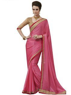 Chiffon Border & Zari Work Pink Plain Saree - STY1