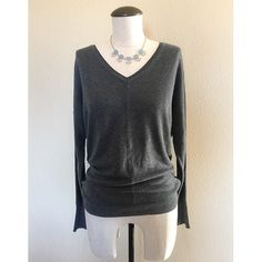 V-Neck (Charcoal Gray) Long Sleeve Sweater sz M V-Neck (Charcoal Gray) Long Sleeve Sweater sz M▪️It's pre-owned but still in great condition. It's very comfortable as well. The necklace is NOT included, sold separately.             NO TRADES NO PAYPAL Sweaters V-Necks