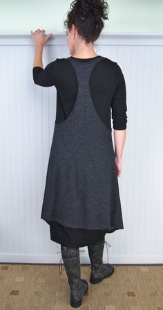 Alembika Cool Layering Tunic and Judy Kisim Dress with Rundholz Black Label Triumph Tall Boot