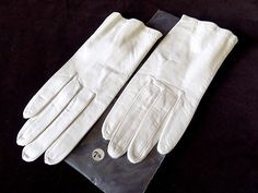 White Leather Short Gloves by Andree Unworn Pristine for Bride 7 1/2 by EyeSpyGoods on Etsy