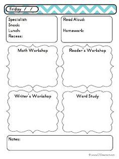 Preschool Daily Lesson Plan Template