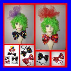 Large Spotty - Polka Dot Clown Bow Tie Clown Fancy Dress - Curly Wig - Dicky Bow