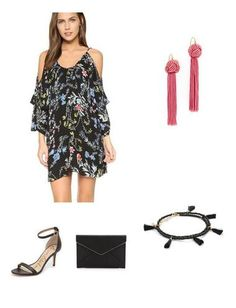 This printed dress is fun & playful.  The pink tassel earring works perfectly with the exposed shoulder!