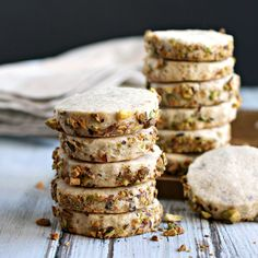 Recipe for buttery shortbread cookies loaded with pistachios and flavored with cardamom.