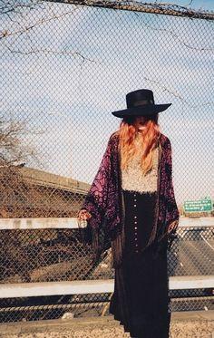 Purple kimono - maxi skirt