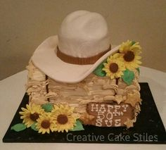 Country/western theme cake- hay bale cake, fondant hat